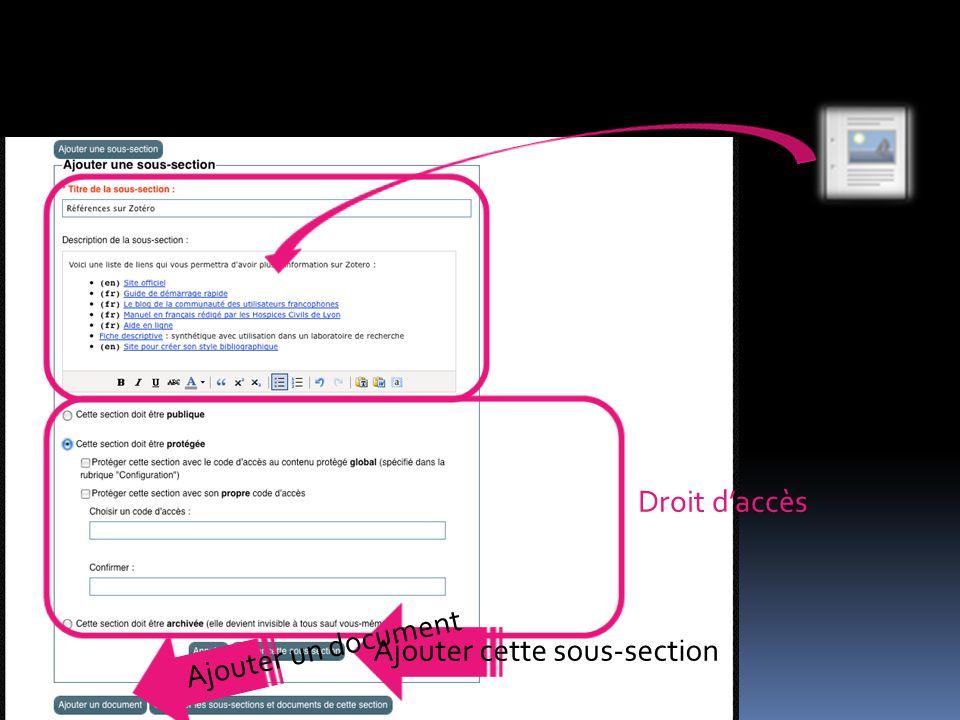 Droit d'accès Ajouter cette sous-section Ajouter un document