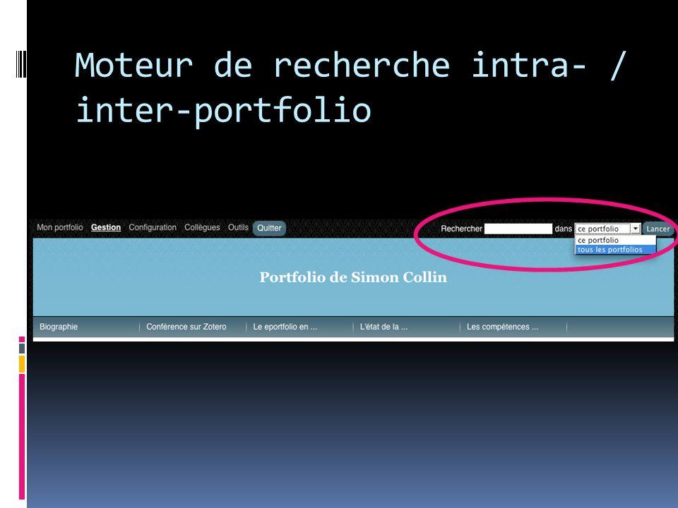 Moteur de recherche intra- / inter-portfolio