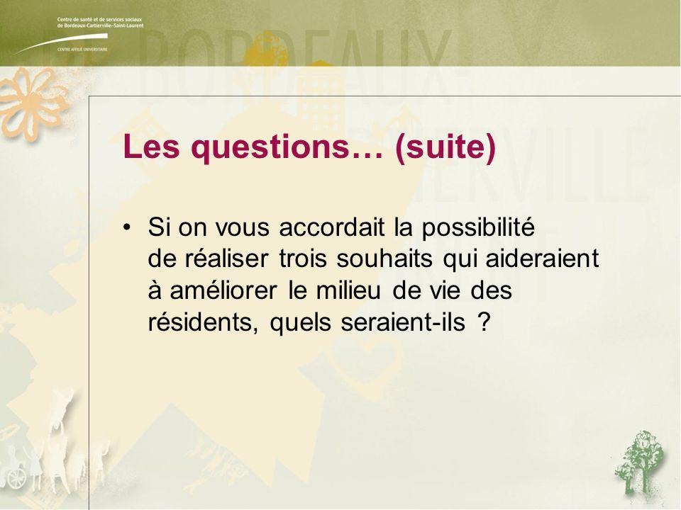 Les questions… (suite) Si on vous accordait la possibilité de réaliser trois souhaits qui aideraient à améliorer le milieu de vie des résidents, quels seraient-ils