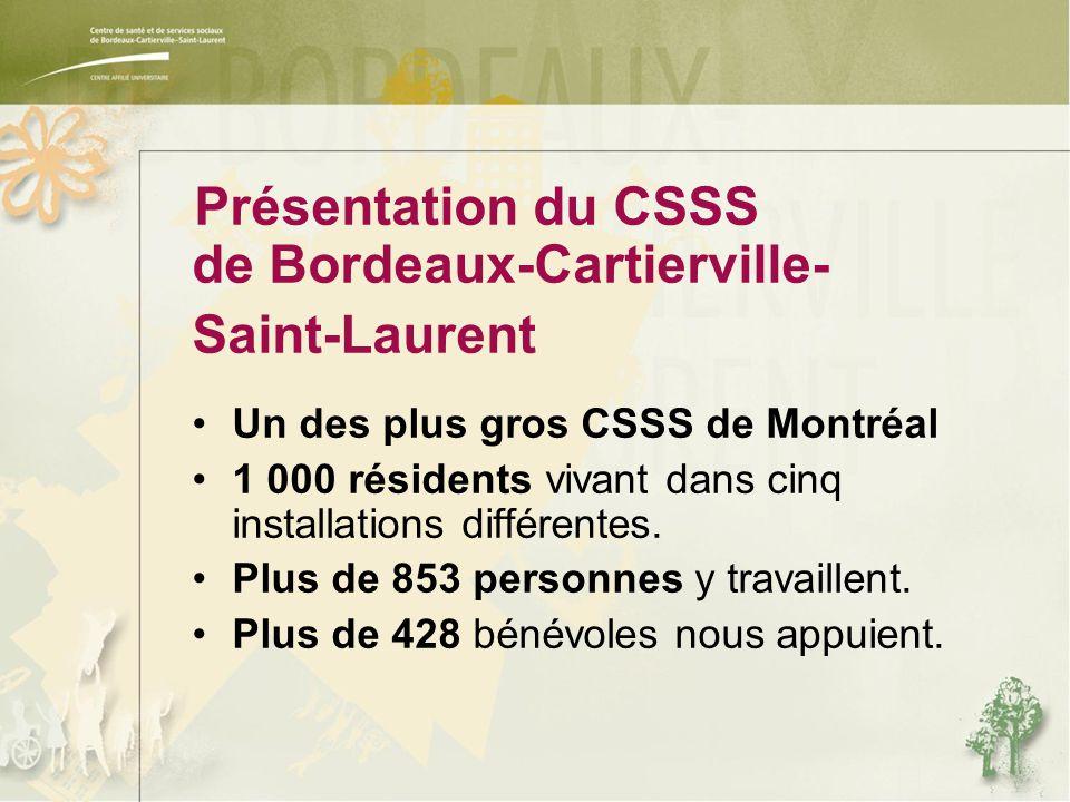 Présentation du CSSS de Bordeaux-Cartierville- Saint-Laurent Un des plus gros CSSS de Montréal 1 000 résidents vivant dans cinq installations différentes.