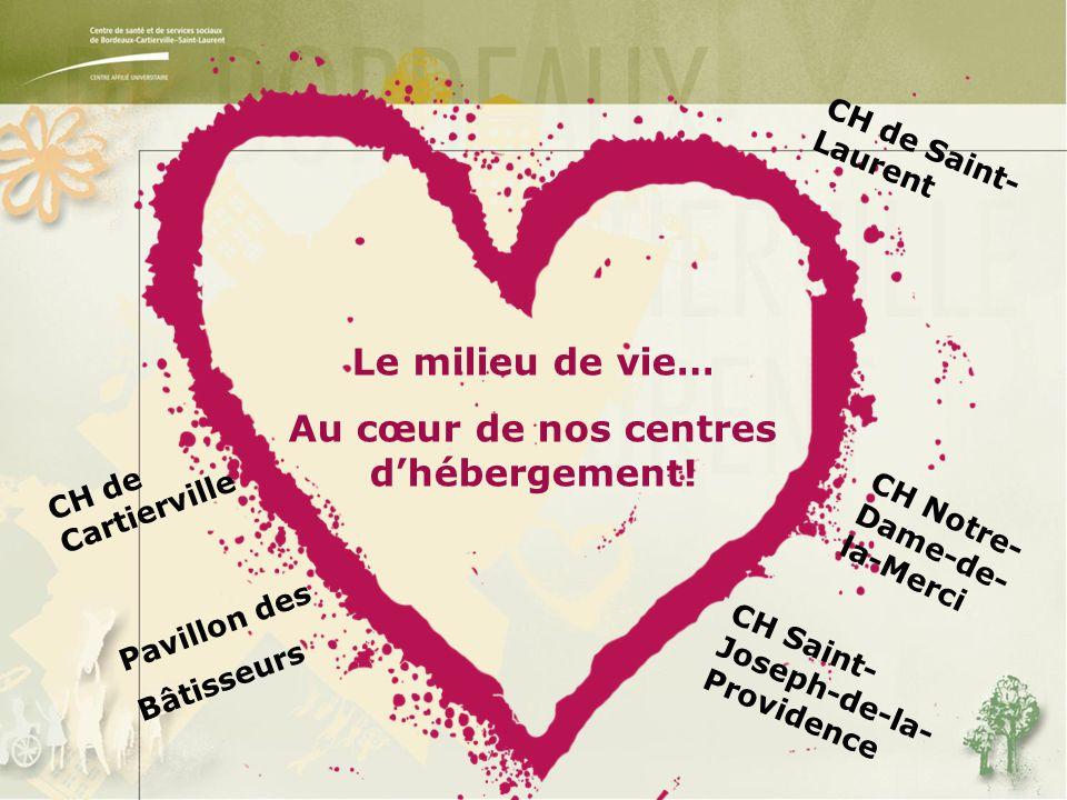 CH de Cartierville Pavillon des Bâtisseurs CH de Saint- Laurent CH Saint- Joseph-de-la- Providence CH Notre- Dame-de- la-Merci Le milieu de vie… Au cœur de nos centres d'hébergement!