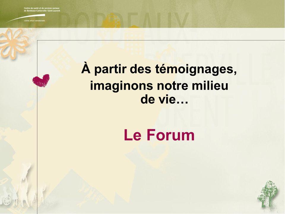 À partir des témoignages, imaginons notre milieu de vie… Le Forum