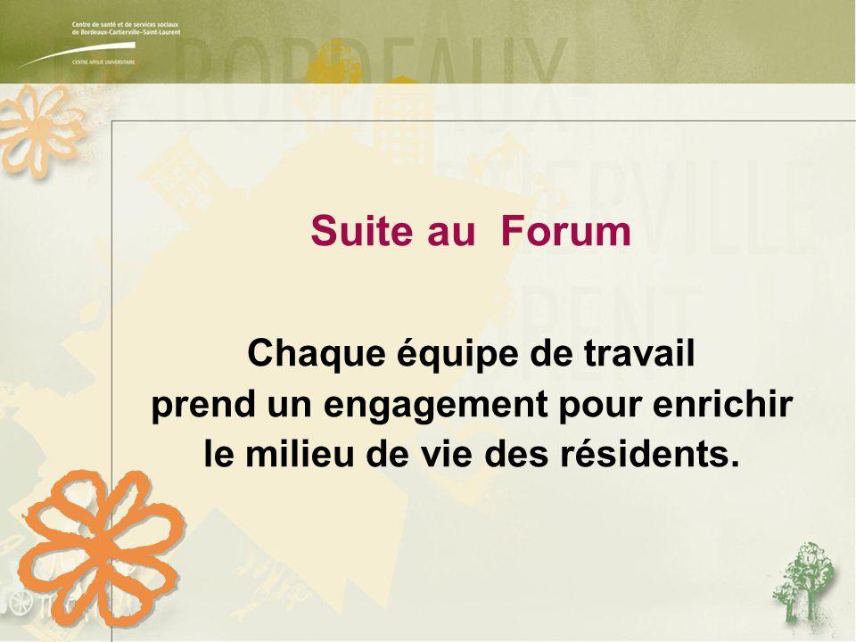 Suite au Forum Chaque équipe de travail prend un engagement pour enrichir le milieu de vie des résidents.
