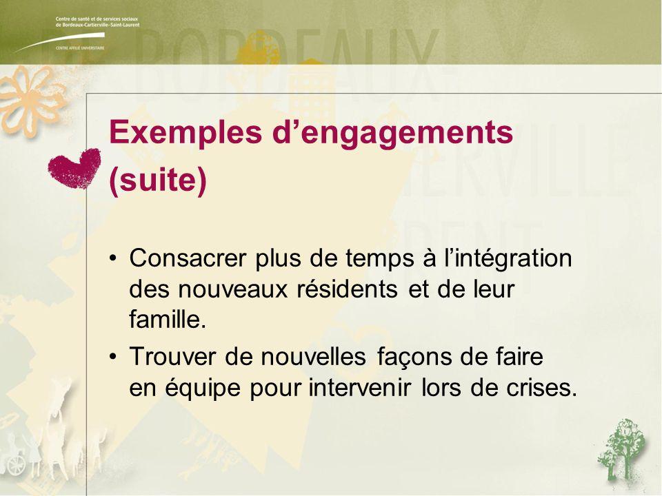 Exemples d'engagements (suite) Consacrer plus de temps à l'intégration des nouveaux résidents et de leur famille.