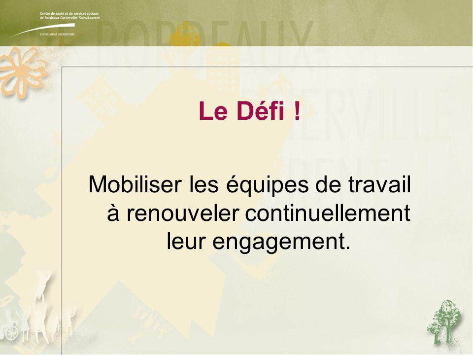 Le Défi ! Mobiliser les équipes de travail à renouveler continuellement leur engagement.