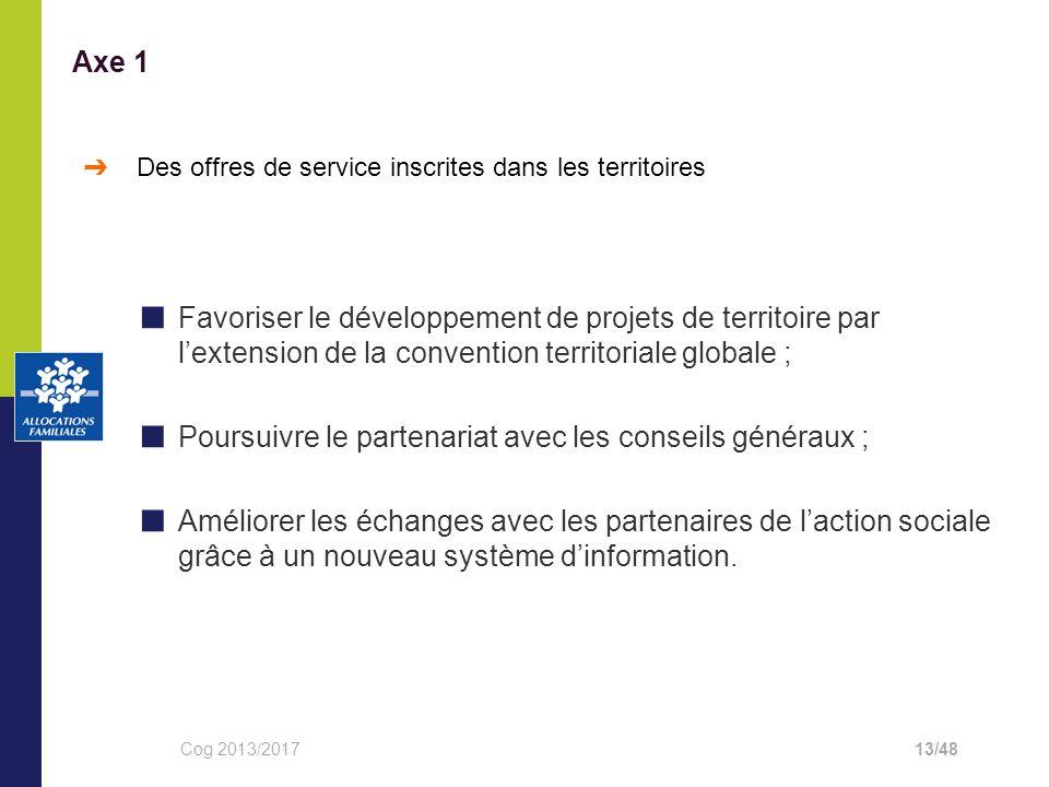 ■ Favoriser le développement de projets de territoire par l'extension de la convention territoriale globale ; ■ Poursuivre le partenariat avec les conseils généraux ; ■ Améliorer les échanges avec les partenaires de l'action sociale grâce à un nouveau système d'information.