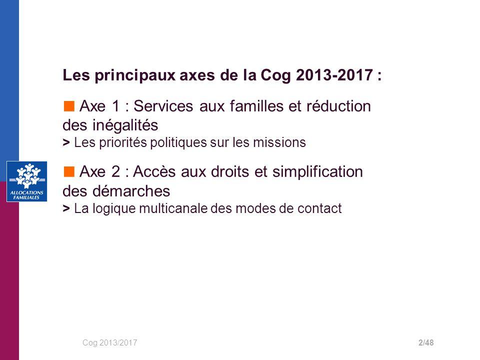 Les principaux axes de la Cog 2013-2017 : ■ Axe 1 : Services aux familles et réduction des inégalités > Les priorités politiques sur les missions ■ Axe 2 : Accès aux droits et simplification des démarches > La logique multicanale des modes de contact Cog 2013/20172/48