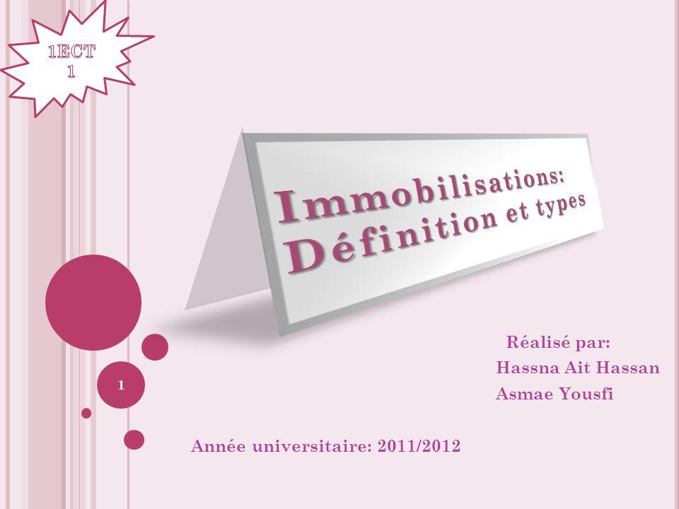 Réalisé par: Hassna Ait Hassan Asmae Yousfi Année universitaire: 2011/2012 1