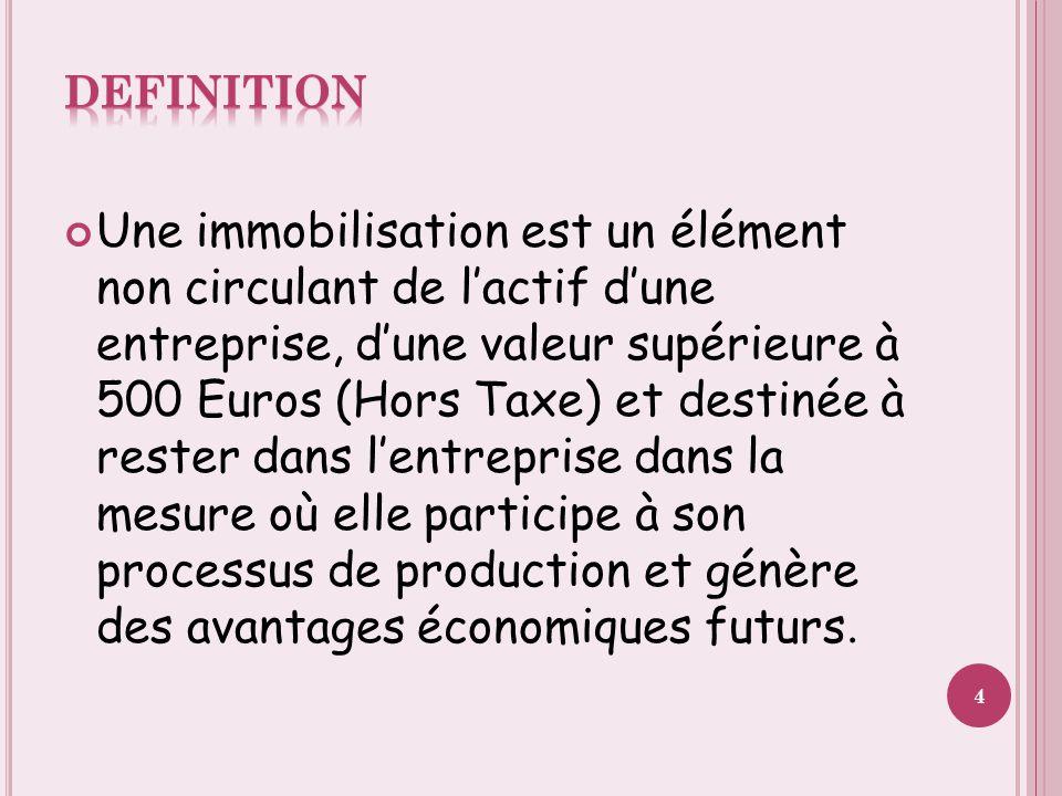 Une immobilisation est un élément non circulant de l'actif d'une entreprise, d'une valeur supérieure à 500 Euros (Hors Taxe) et destinée à rester dans