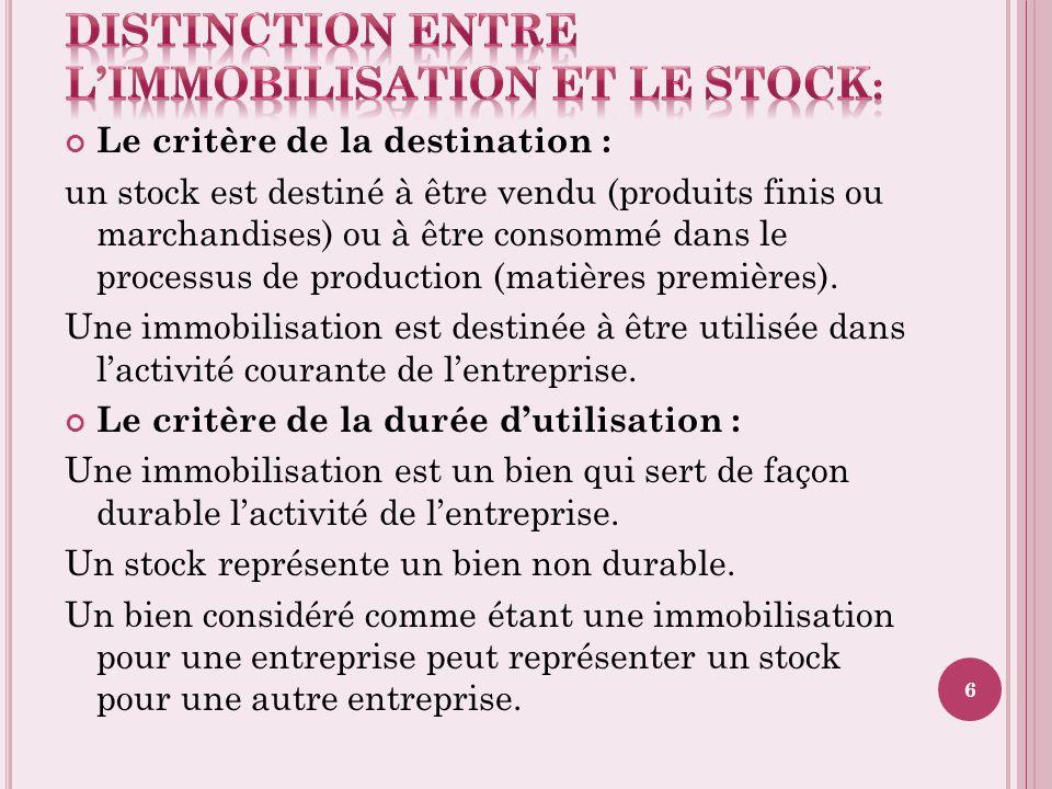 Le critère de la destination : un stock est destiné à être vendu (produits finis ou marchandises) ou à être consommé dans le processus de production (