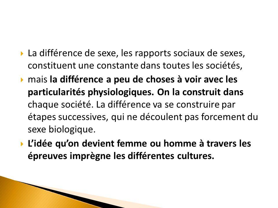  La différence de sexe, les rapports sociaux de sexes, constituent une constante dans toutes les sociétés,  mais la différence a peu de choses à voi