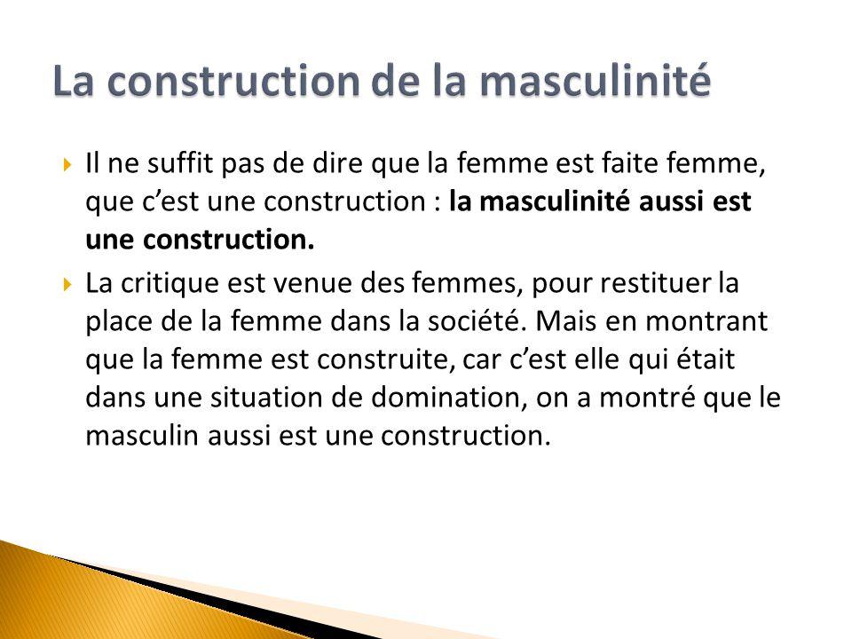  Il ne suffit pas de dire que la femme est faite femme, que c'est une construction : la masculinité aussi est une construction.  La critique est ven