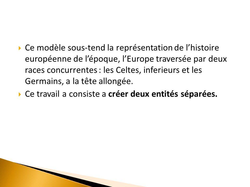  Ce modèle sous-tend la représentation de l'histoire européenne de l'époque, l'Europe traversée par deux races concurrentes : les Celtes, inferieurs