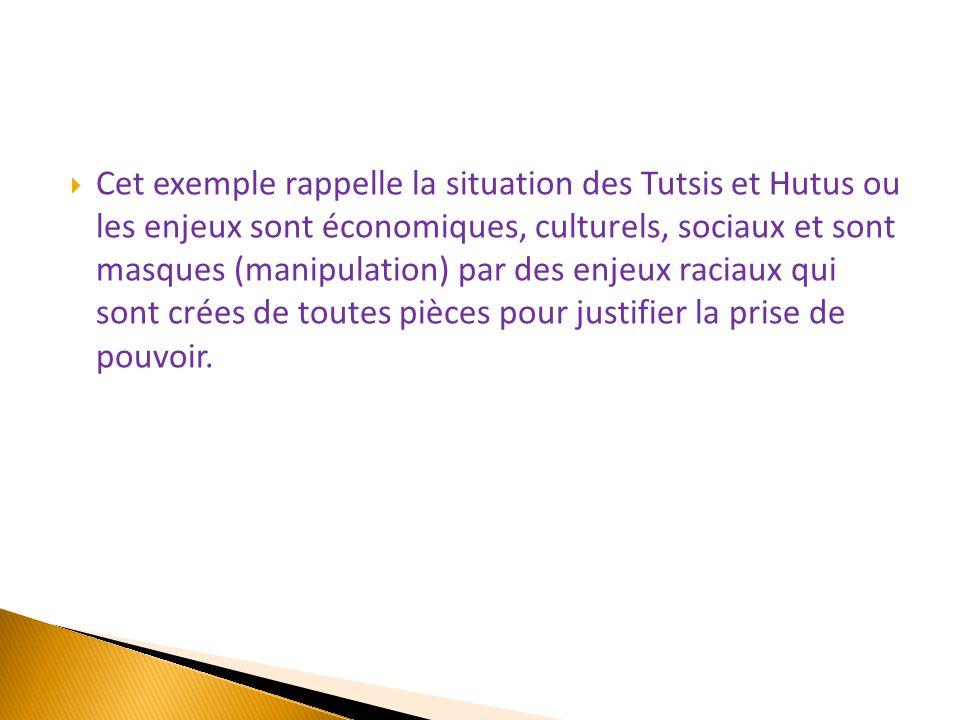  Cet exemple rappelle la situation des Tutsis et Hutus ou les enjeux sont économiques, culturels, sociaux et sont masques (manipulation) par des enje
