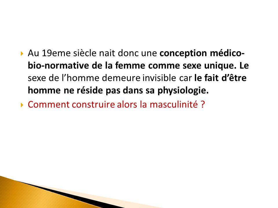  Au 19eme siècle nait donc une conception médico- bio-normative de la femme comme sexe unique. Le sexe de l'homme demeure invisible car le fait d'êtr