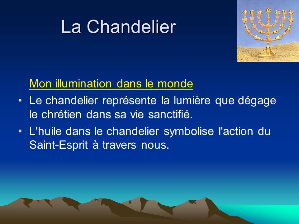 La Chandelier Mon illumination dans le monde Le chandelier représente la lumière que dégage le chrétien dans sa vie sanctifié. L'huile dans le chandel