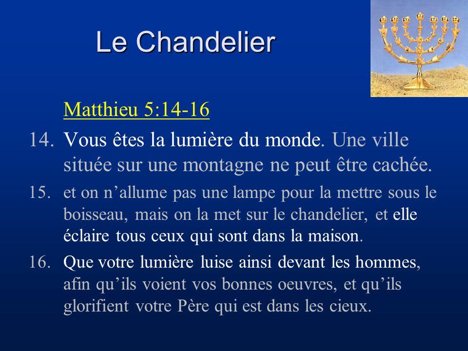 Le Chandelier Matthieu 5:14-16 14.Vous êtes la lumière du monde. Une ville située sur une montagne ne peut être cachée. 15.et on n'allume pas une lamp