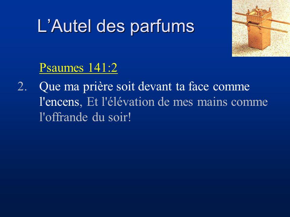 L'Autel des parfums Apocalypse 8:3 3.Et un autre ange vint, et il se tint sur l autel, ayant un encensoir d or; on lui donna beaucoup de parfums, afin qu il les offrît, avec les prières de tous les saints, sur l autel d or qui est devant le trône.