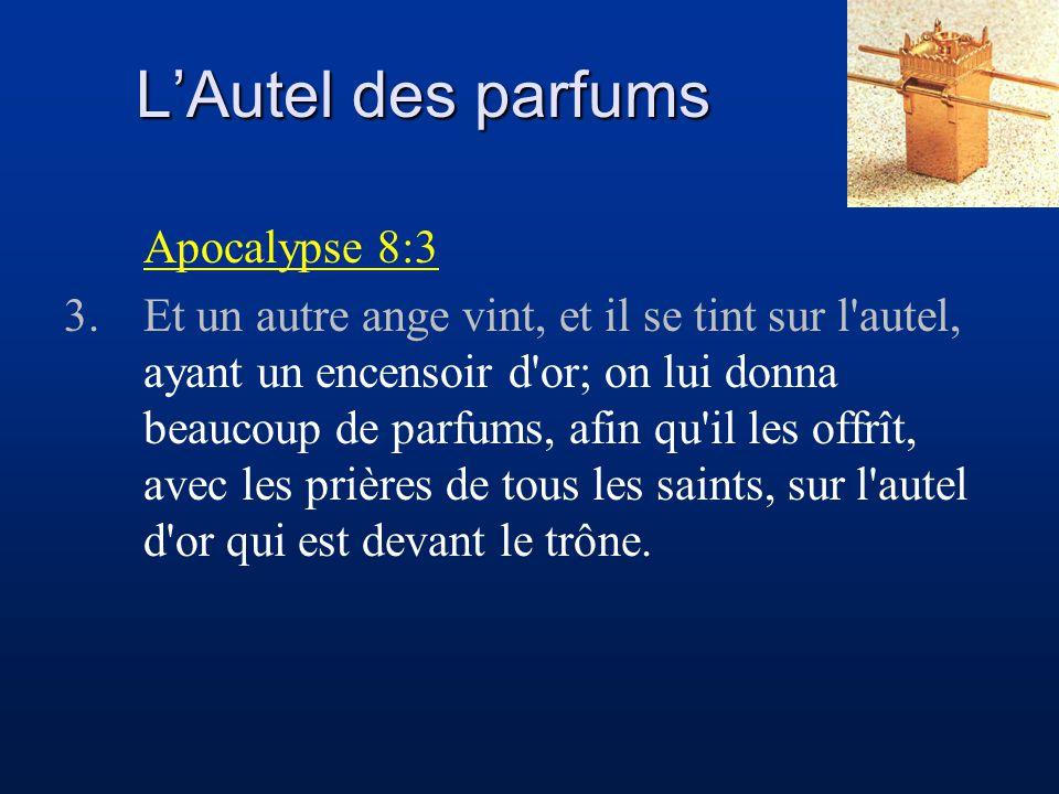 L'Autel des parfums Philippiens 4:6-7 6.Ne vous inquiétez de rien; mais en toute chose faites connaître vos besoins à Dieu par des prières et des supplications, avec des actions de grâces.