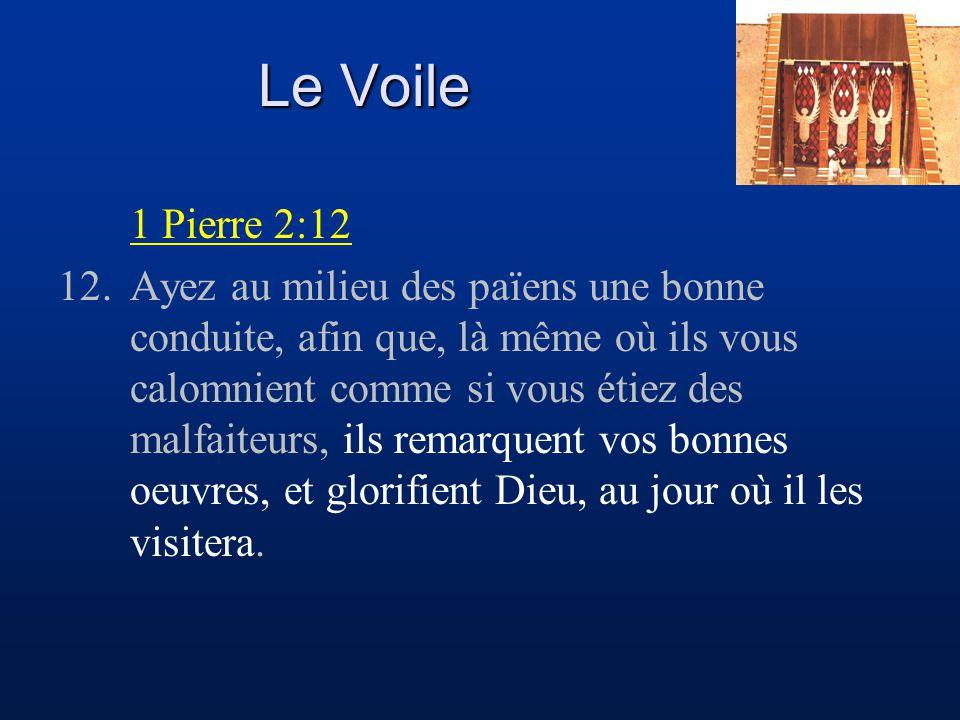 Le Voile 1 Pierre 2:12 12.Ayez au milieu des païens une bonne conduite, afin que, là même où ils vous calomnient comme si vous étiez des malfaiteurs,
