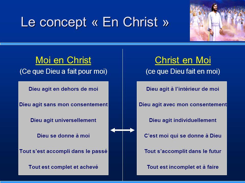 Moi en Christ (Ce que Dieu a fait pour moi) Dieu agit en dehors de moi Dieu agit sans mon consentement Dieu agit universellement Dieu se donne à moi T