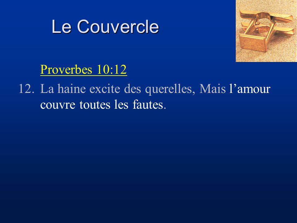 Le Couvercle Proverbes 10:12 12.La haine excite des querelles, Mais l'amour couvre toutes les fautes.