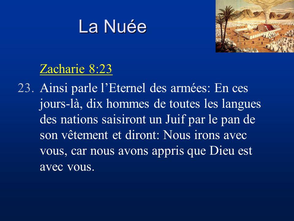 La Nuée Zacharie 8:23 23.Ainsi parle l'Eternel des armées: En ces jours-là, dix hommes de toutes les langues des nations saisiront un Juif par le pan