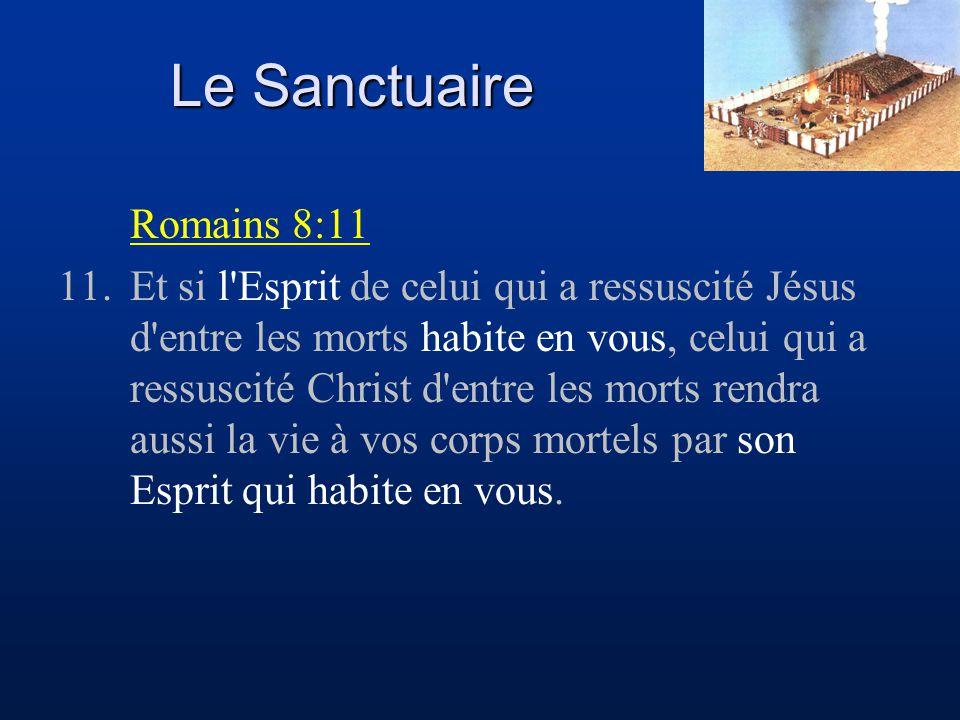 Le Sanctuaire Romains 8:11 11.Et si l'Esprit de celui qui a ressuscité Jésus d'entre les morts habite en vous, celui qui a ressuscité Christ d'entre l
