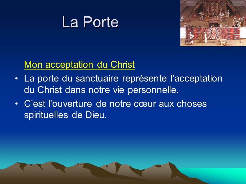 Mon acceptation du Christ La porte du sanctuaire représente l'acceptation du Christ dans notre vie personnelle. C'est l'ouverture de notre cœur aux ch