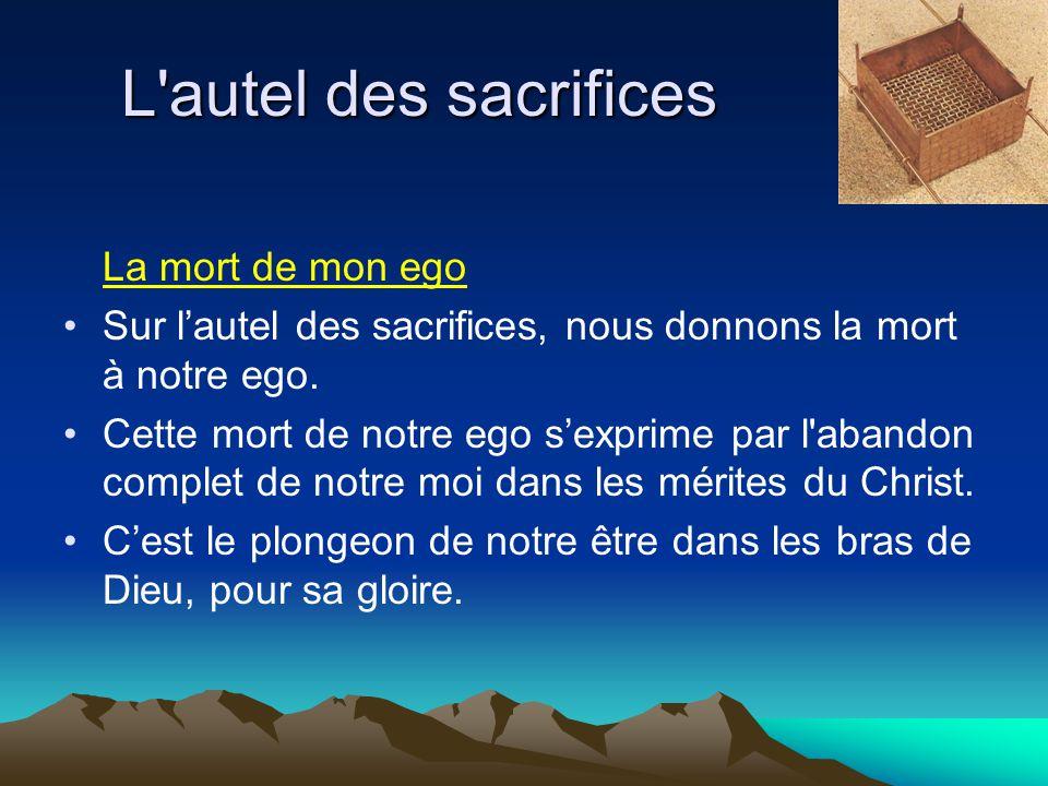 L'autel des sacrifices La mort de mon ego Sur l'autel des sacrifices, nous donnons la mort à notre ego. Cette mort de notre ego s'exprime par l'abando