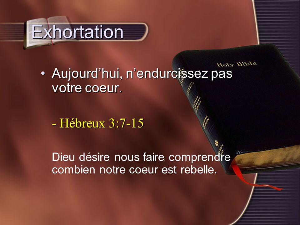 Exhortation Aujourd'hui, n'endurcissez pas votre coeur.Aujourd'hui, n'endurcissez pas votre coeur. - Hébreux 3:7-15 Dieu désire nous faire comprendre