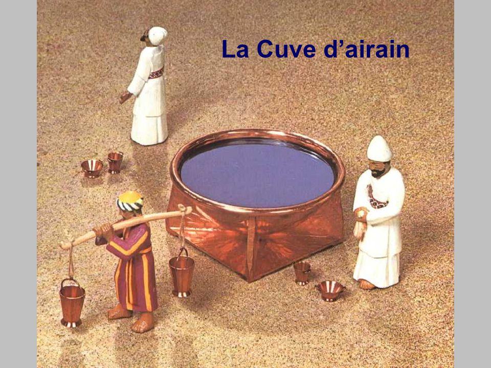La cuve d'airain Ma nouvelle naissance (mon baptême) Cette cuve d'eau représente notre résurrection en nouveauté de vie.