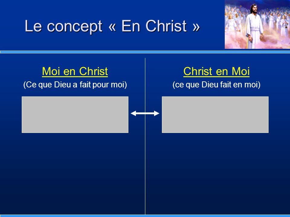 Moi en Christ (Ce que Dieu a fait pour moi) Dieu agit en dehors de moi Il s'est donné lui-même en rançon pour tous.