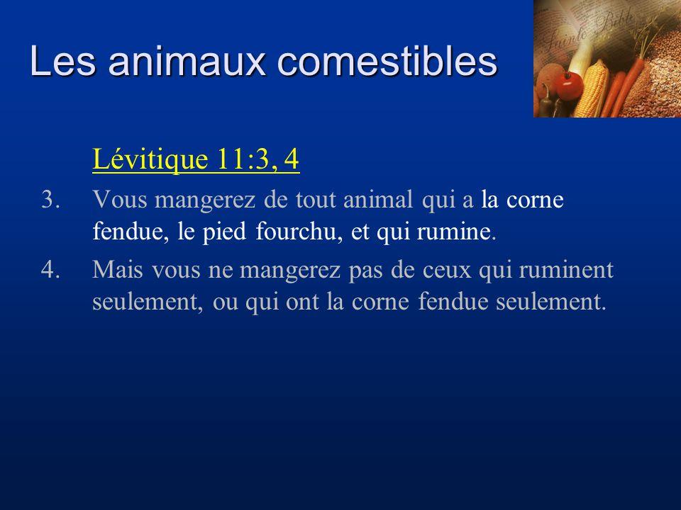 Les animaux comestibles Lévitique 11:3, 4 3.Vous mangerez de tout animal qui a la corne fendue, le pied fourchu, et qui rumine. 4.Mais vous ne mangere