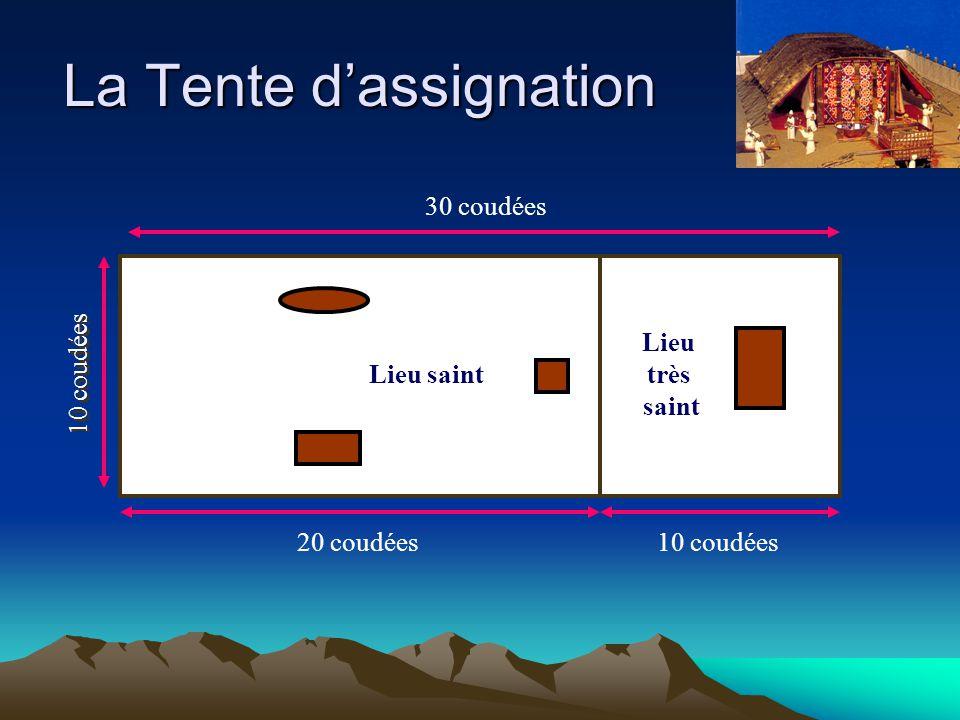 La Tente d'assignation 10 coudées 20 coudées10 coudées Lieu saint Lieu très saint 30 coudées