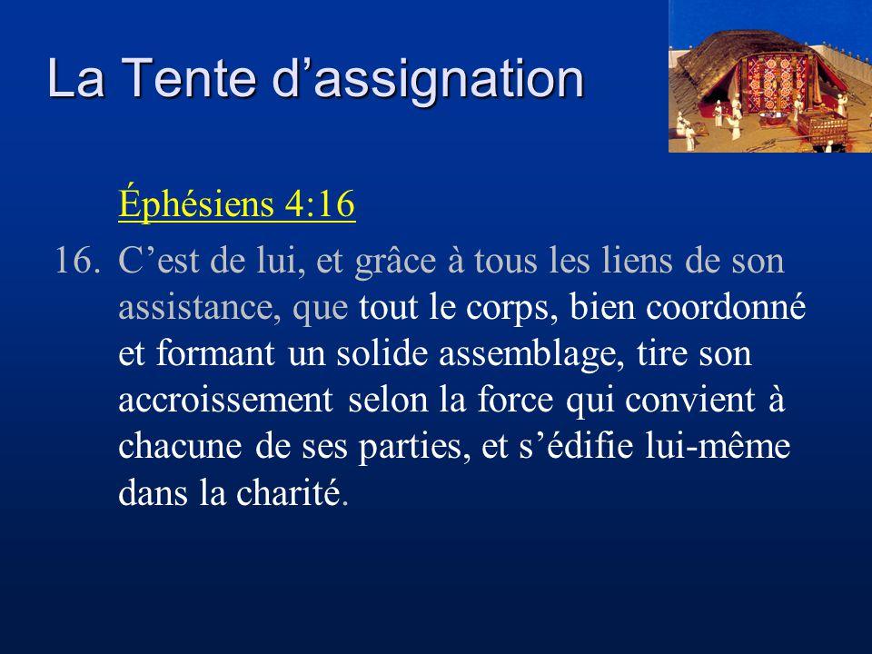 La Tente d'assignation Éphésiens 4:16 16.C'est de lui, et grâce à tous les liens de son assistance, que tout le corps, bien coordonné et formant un so