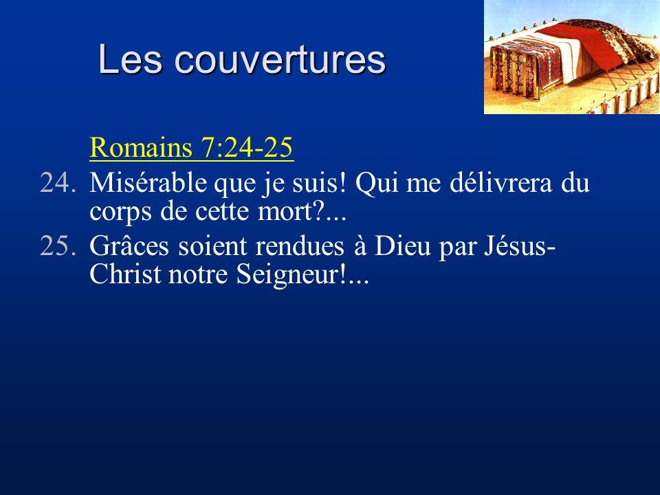 Les couvertures Romains 7:24-25 24.Misérable que je suis! Qui me délivrera du corps de cette mort?... 25.Grâces soient rendues à Dieu par Jésus- Chris