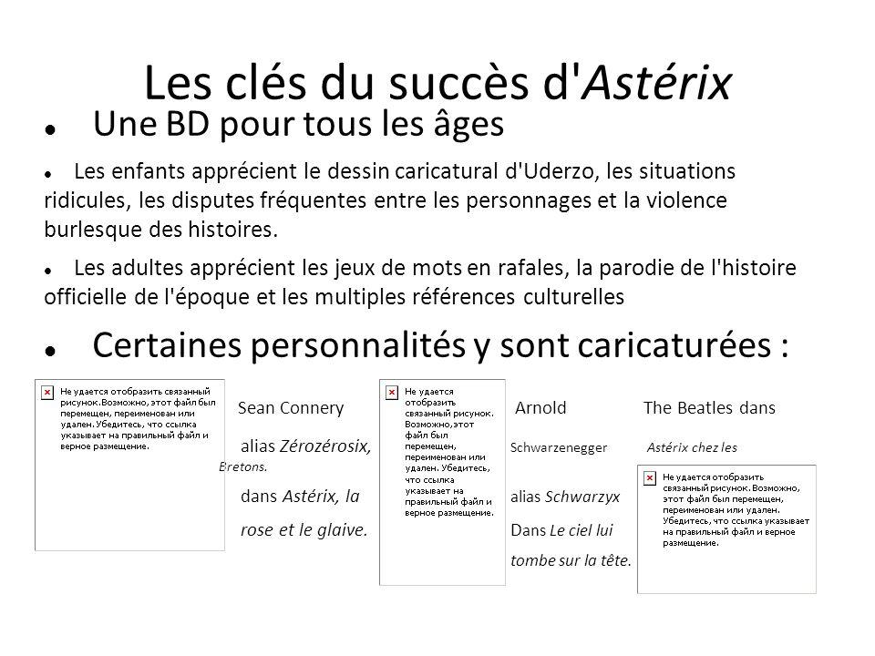 Les clés du succès d'Astérix Une BD pour tous les âges Les enfants apprécient le dessin caricatural d'Uderzo, les situations ridicules, les disputes f
