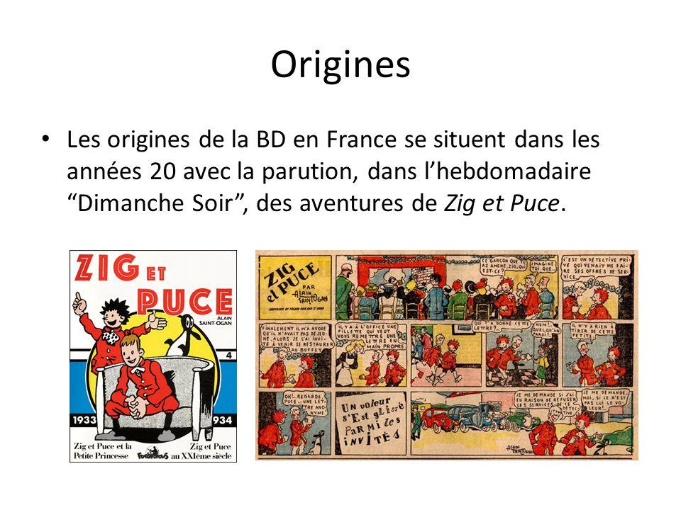 """Origines Les origines de la BD en France se situent dans les années 20 avec la parution, dans l'hebdomadaire """"Dimanche Soir"""", des aventures de Zig et"""