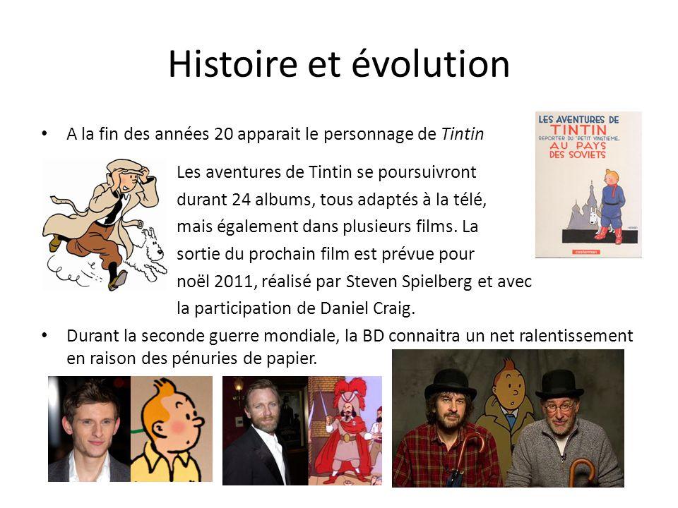 Histoire et évolution A la fin des années 20 apparait le personnage de Tintin Les aventures de Tintin se poursuivront durant 24 albums, tous adaptés à