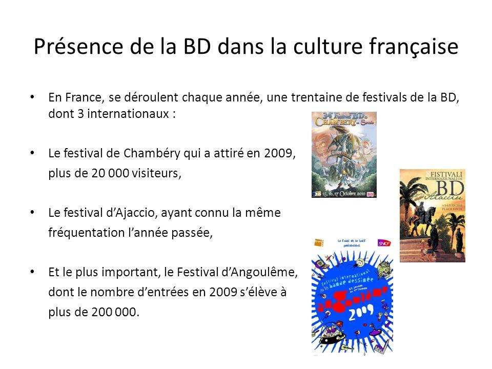 Présence de la BD dans la culture française En France, se déroulent chaque année, une trentaine de festivals de la BD, dont 3 internationaux : Le fest