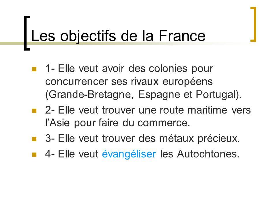 Les objectifs de la France 1- Elle veut avoir des colonies pour concurrencer ses rivaux européens (Grande-Bretagne, Espagne et Portugal).