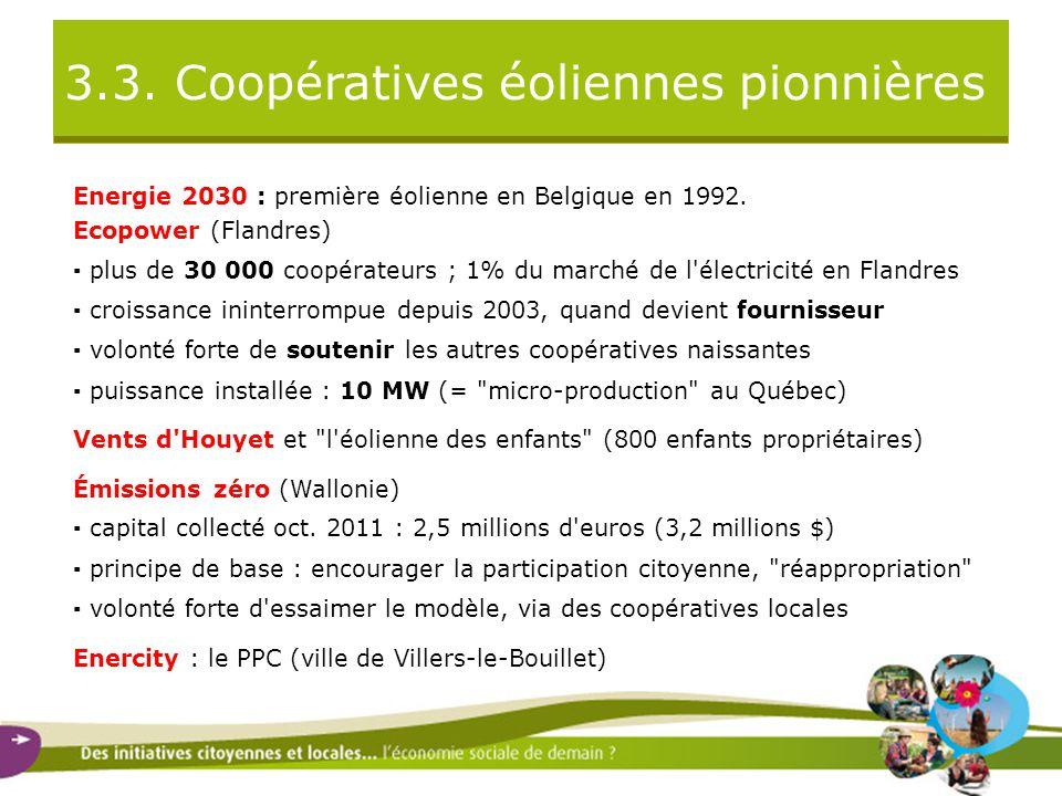 3.3. Coopératives éoliennes pionnières Energie 2030 : première éolienne en Belgique en 1992.