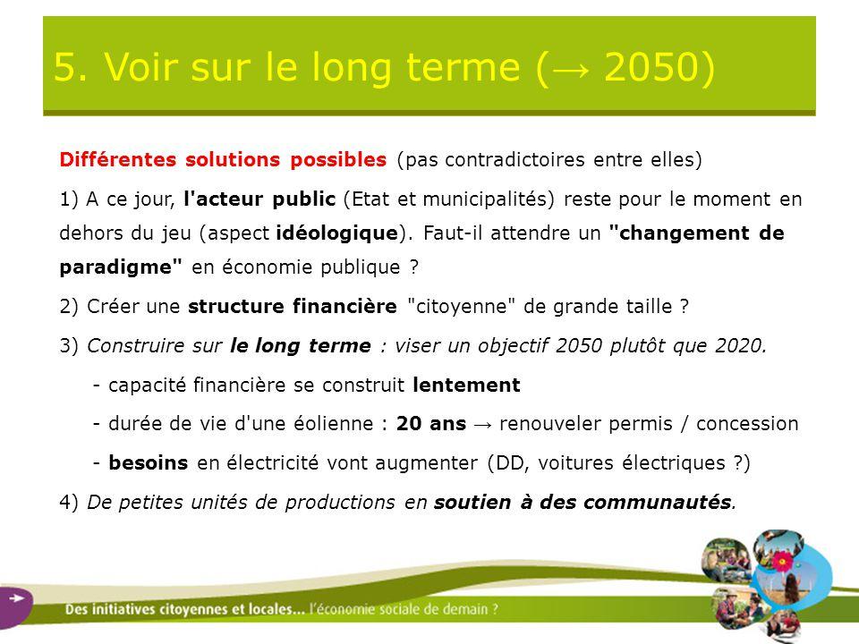 5. Voir sur le long terme ( → 2050) Différentes solutions possibles (pas contradictoires entre elles) 1) A ce jour, l'acteur public (Etat et municipal