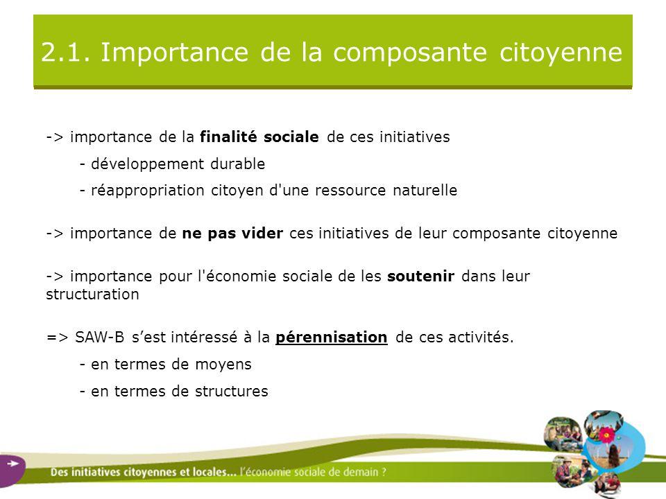 2.1. Importance de la composante citoyenne -> importance de la finalité sociale de ces initiatives - développement durable - réappropriation citoyen d