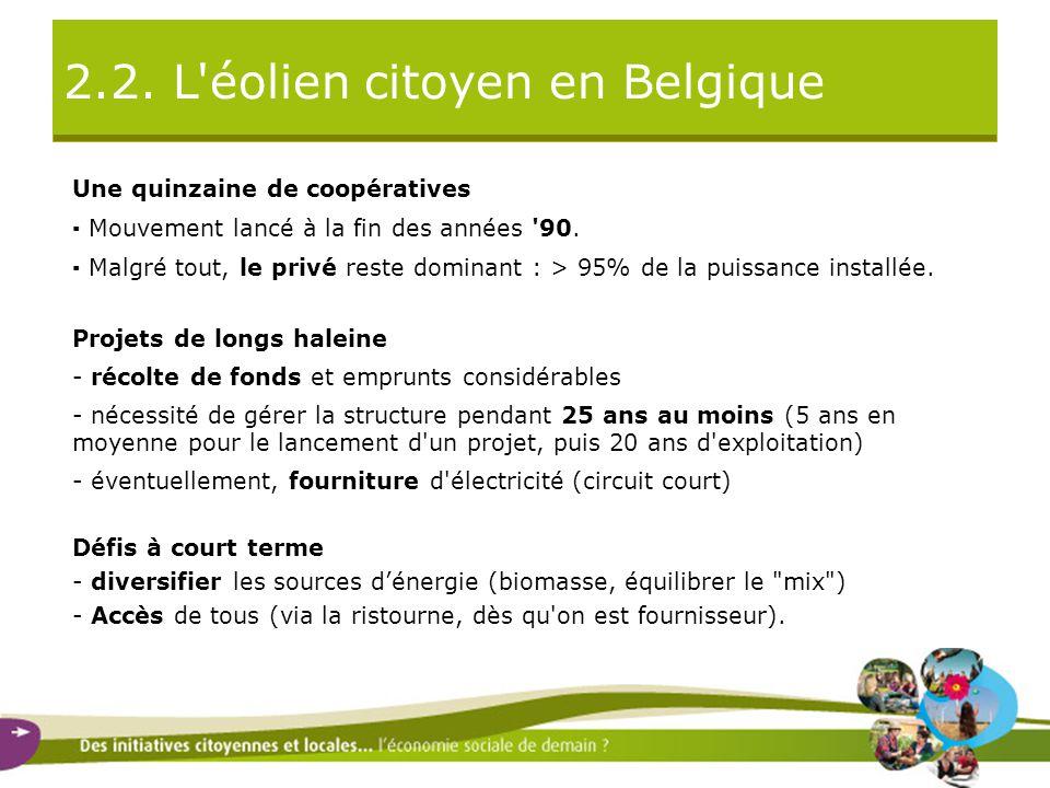 2.2. L'éolien citoyen en Belgique Une quinzaine de coopératives ▪ Mouvement lancé à la fin des années '90. ▪ Malgré tout, le privé reste dominant : >