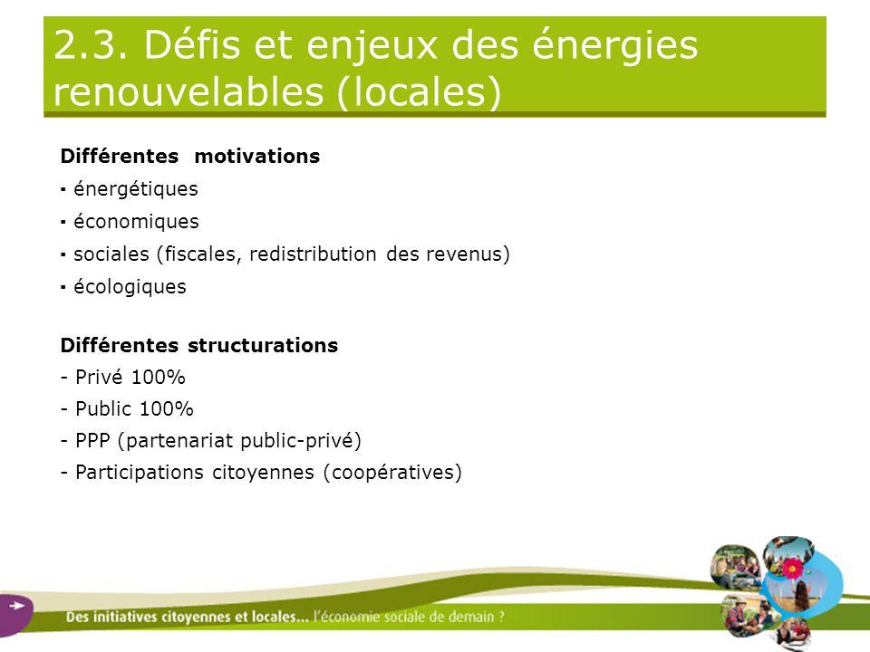 2.3. Défis et enjeux des énergies renouvelables (locales) Différentes motivations ▪ énergétiques ▪ économiques ▪ sociales (fiscales, redistribution de