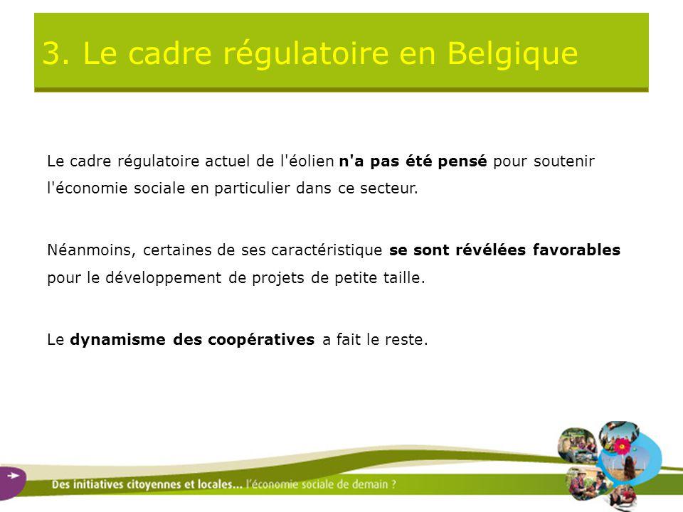 3. Le cadre régulatoire en Belgique Le cadre régulatoire actuel de l'éolien n'a pas été pensé pour soutenir l'économie sociale en particulier dans ce