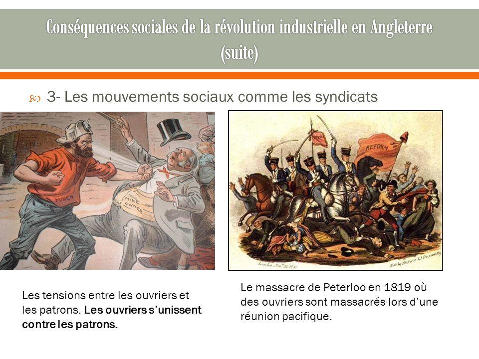  3- Les mouvements sociaux comme les syndicats Le massacre de Peterloo en 1819 où des ouvriers sont massacrés lors d'une réunion pacifique. Les tensi