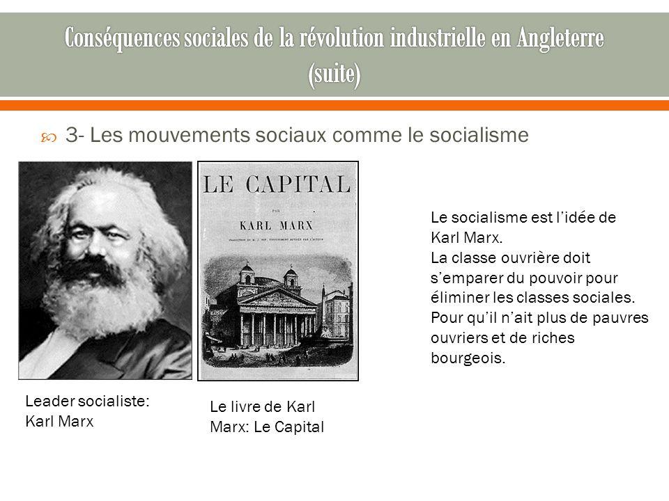  3- Les mouvements sociaux comme le socialisme Leader socialiste: Karl Marx Le livre de Karl Marx: Le Capital Le socialisme est l'idée de Karl Marx.